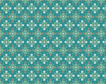 Chick-A-Doodle Doo teal cafe curtains CD21703 by Poppie Cotton