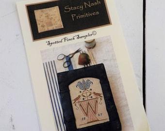 Spotted Finch Sampler by Stacy Nash Primitives...cross stitch pattern
