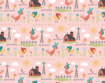 Chick-A-Doodle Doo pink rise and shine CD21713 by Poppie Cotton