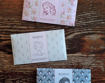 Bohin needle assortment, 40 needles, sewing needle book, 3 color options