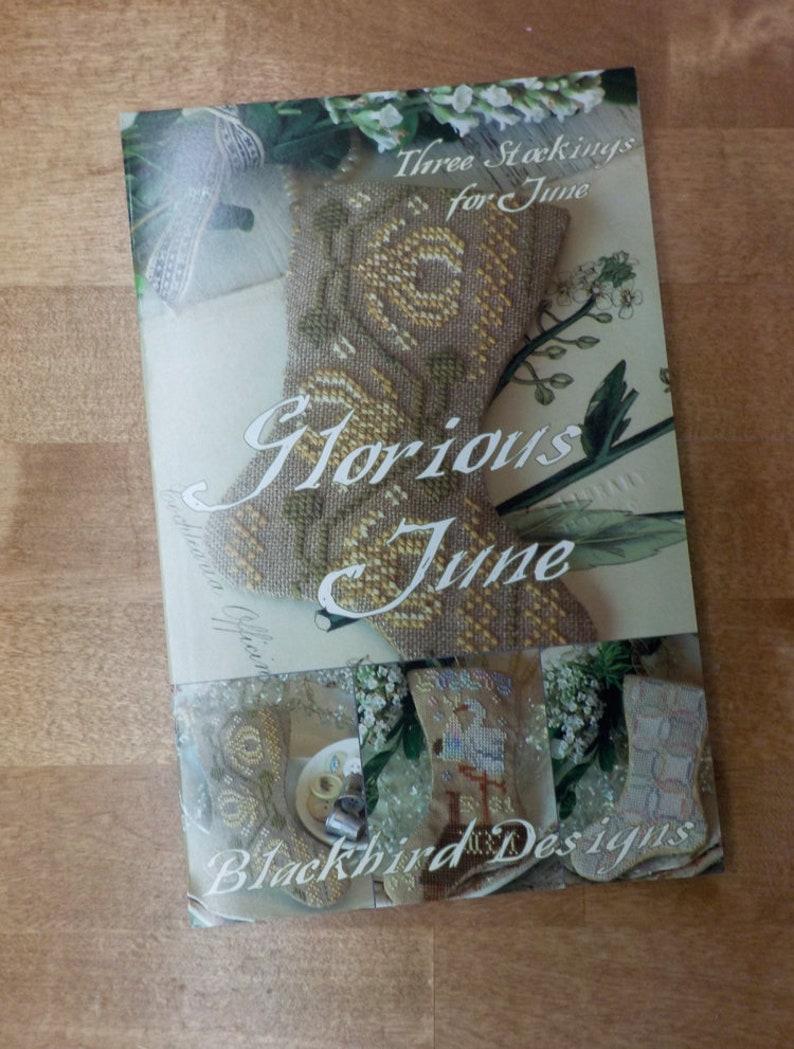 by Blackbird Designs...cross-stitch design Glorious June 3 Stockings for June