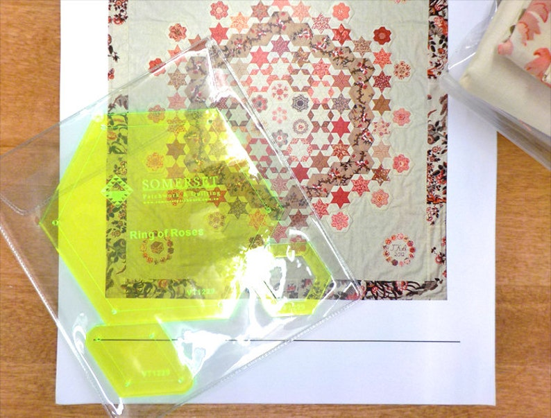 Ring of Roses by Susan Ambrose for Somerset Designs...quilt kit including pattern and complete paper piece pack acrylics