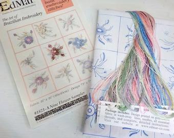 A Nine Flower Sampler...EdMar kit #1821...kit complete with instructions, preprinted thread and
