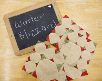 Week 5 Winter Blizzard..Christmas Morning Quilt Along...PDF block pattern
