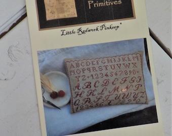 Little Redwork Pinkeep by Stacy Nash Primitives...cross stitch pattern