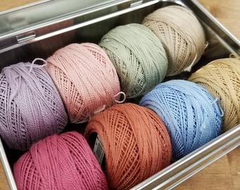 Dusky Petals thread box...featuring 8 DMC perle cotton balls...no 8