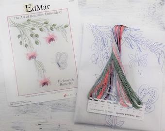 Fuchsias & Butterfly...EdMar 1605 project...Brazilian embroidery