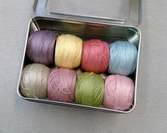 Bramble Cottage-Inspired thread box...featuring 8 DMC perle cotton balls...no 8