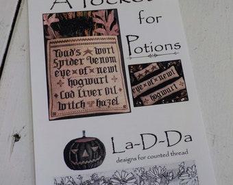 A Pocket for Potions by La-D-Da...cross stitch pattern, Halloween cross stitch