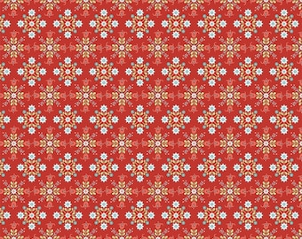 Chick-A-Doodle Doo red cafe curtains CD21702 by Poppie Cotton