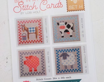 Bee in My Bonnet Stitch Cards, Set H by Lori Holt of Bee in My Bonnet, cross stitch pattern, it's sew emma stitchery
