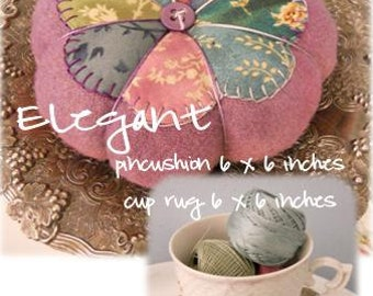 PDF Elegant pincushion and cup rug pattern by Mickey Zimmer for Sweetwater Cotton Shoppe