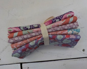 Gardenlife and Meadow Basics Lilac and Coral fat quarter bundle...a Tilda Collection designed by Tone Finnanger, 5 fat quarters