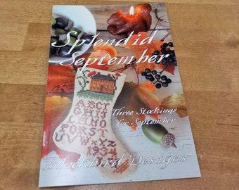 Splendid September, 3 Stockings for September, by Blackbird Designs...cross-stitch design