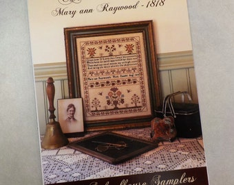 Above the Sky Mary ann Raywood - 1818 by 1897 Schoolhouse Samplers...cross stitch pattern, house cross stitch, pin drum cross stitch pattern