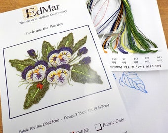 Lady and the Pansies...EdMar 1410 project...Brazilian embroidery