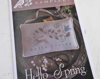 Hello Spring by Plum Street Samplers...cross stitch pattern, spring cross stitch, easter cross stitch, rabbit