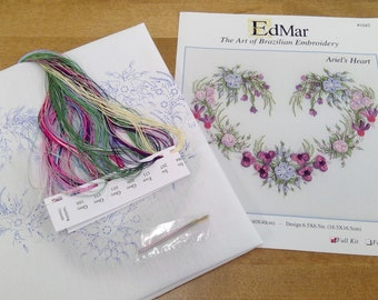 Ariel's Heart...EdMar 1042 project...Brazilian embroidery kit...diy embroidery kit