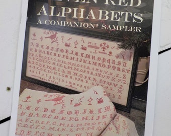 Seven Red Alphabets, A Companion Sampler designed by Needle WorkPress, red sampler, 2 color, red and cream needlework