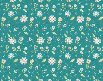 Chick-A-Doodle Doo teal pickin' daisies CD21712 by Poppie Cotton
