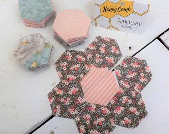 Sanctuary honey comb by 3 Sisters for Moda Fabrics...240--1 1/2 inch hexies -fits a 1 inch hexagon paper-