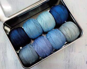 Sky thread box...featuring 8 DMC perle cotton balls...no 8