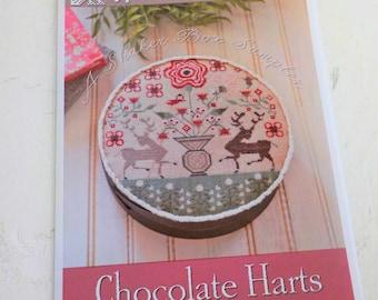 Chocolate Harts by Plum Street Samplers...cross stitch pattern, valentine's day, a shaker box sampler