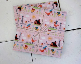 Chick-A-Doodle Doo 10 inch squares by Poppie Cotton...42--10 inch squares