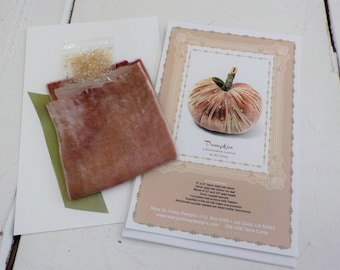 Pumpkin, a diminutive cushion by MJ Hiney...the Ribbon Muse...complete fabric and ribbon kit with instructions, terra cotta velvet