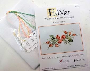 Rolled Rose (1227)...EdMar kit...Brazilian embroidery