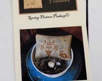 Spring Flowers Pinkeep by Stacy Nash Primitives...cross stitch pattern