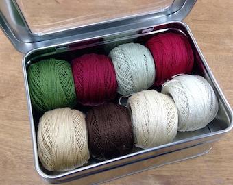 Vintage Christmas thread box...featuring 8 DMC perle cotton balls...no 8