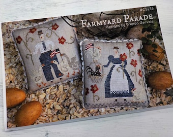Farmyard Parade by Brenda Gervais of With Thy Needle & Thread...cross-stitch design, patriotic cross stitch, 4th of july, americana