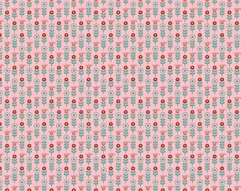 Chick-A-Doodle Doo pink tulip row CD21717 by Poppie Cotton