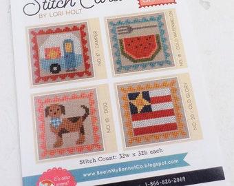 Bee in My Bonnet Stitch Cards, Set E by Lori Holt of Bee in My Bonnet, cross stitch pattern, it's sew emma stitchery