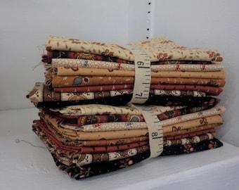 Lancaster 8 fat quarter bundle....collection designed by Jo Morton for Moda Fabrics, exclusive grouping, civil war, autumn