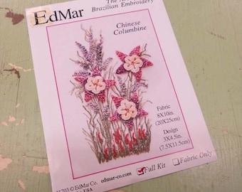 Chinese Columbine...EdMar 1703 project...Brazilian embroidery