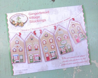 Gingerbread Village Stockings by Meg Hawkey of Crabapple Hill Studio