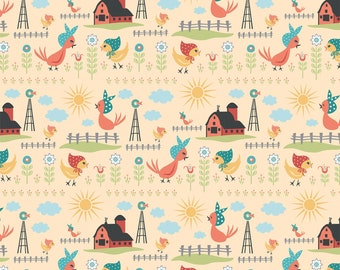 Chick-A-Doodle Doo yellow rise and shine CD21715 by Poppie Cotton
