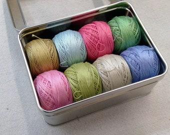 Tilda's Happy Campers-Inspired thread box...featuring 8 DMC perle cotton balls...no 8