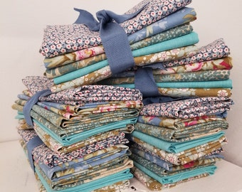 Woodland and Chambray blue and green fat quarter bundle...a Tilda Collection designed by Tone Finnanger...5 fat quarters