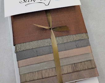 Treasured...7 piece silk pack...by MJ Hiney...hand dyed, crazy quilting, embroidery, ribbon embroidery