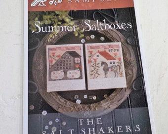 Summer Saltboxes, The Salt Shakers by Plum Street Samplers...cross stitch pattern, summer cross stitch, easter cross stitch, rabbit