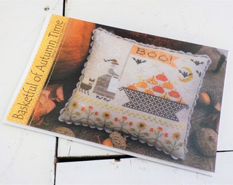 Basketful of Autumn Time by Brenda Gervais of With Thy Needle and Thread...cross stitch pattern, witch cross stitch, pumpkin cross stitch