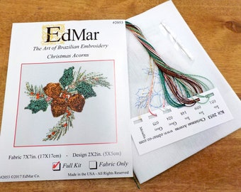 Christmas Acorns #2053...EdMar kit...Brazilian embroidery...christmas kit...christmas embroidery