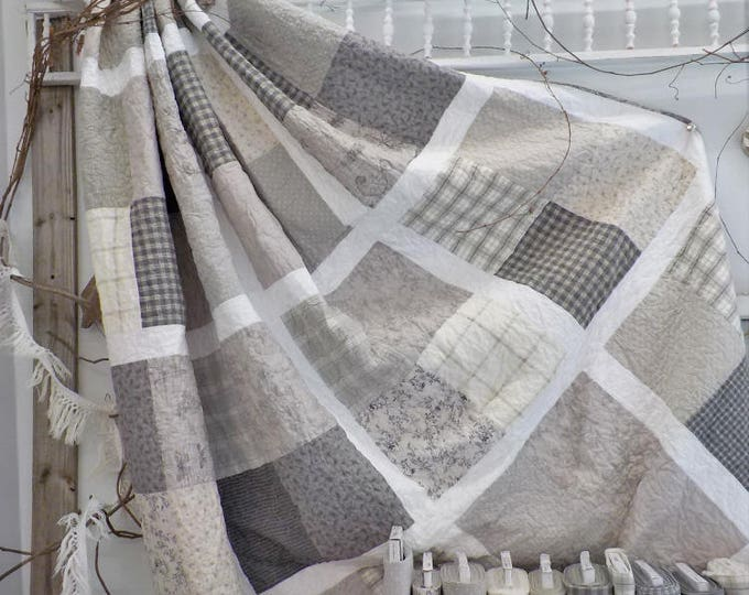 Featured listing image: Beachy in Grey quilt kit...designed by Mickey Zimmer for Sweetwater Cotton Shoppe
