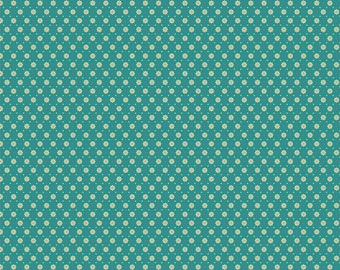Chick-A-Doodle Doo teal florets CD21721 by Poppie Cotton