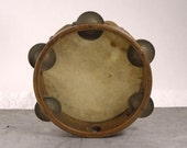 Vintage Wooden Tambourine With Tight Drum Skin