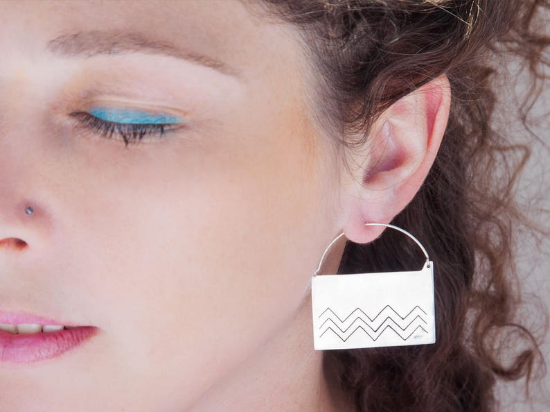 402c9b3e5 MAPUCHE earrings silver contemporary earrings boucle   Etsy