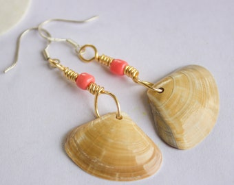 Pink and Tan Mermaid Shell Earrings